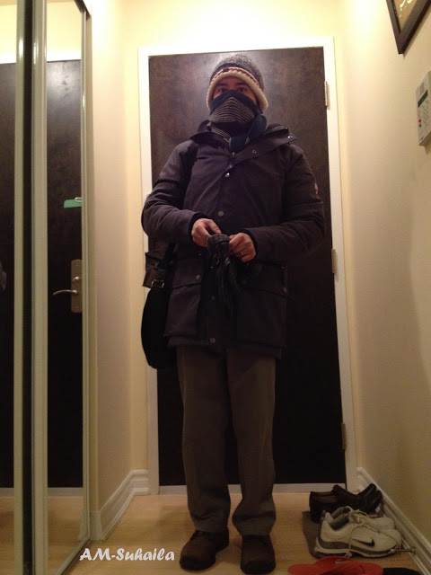 The Mister all geared up in braving the snowfall to work