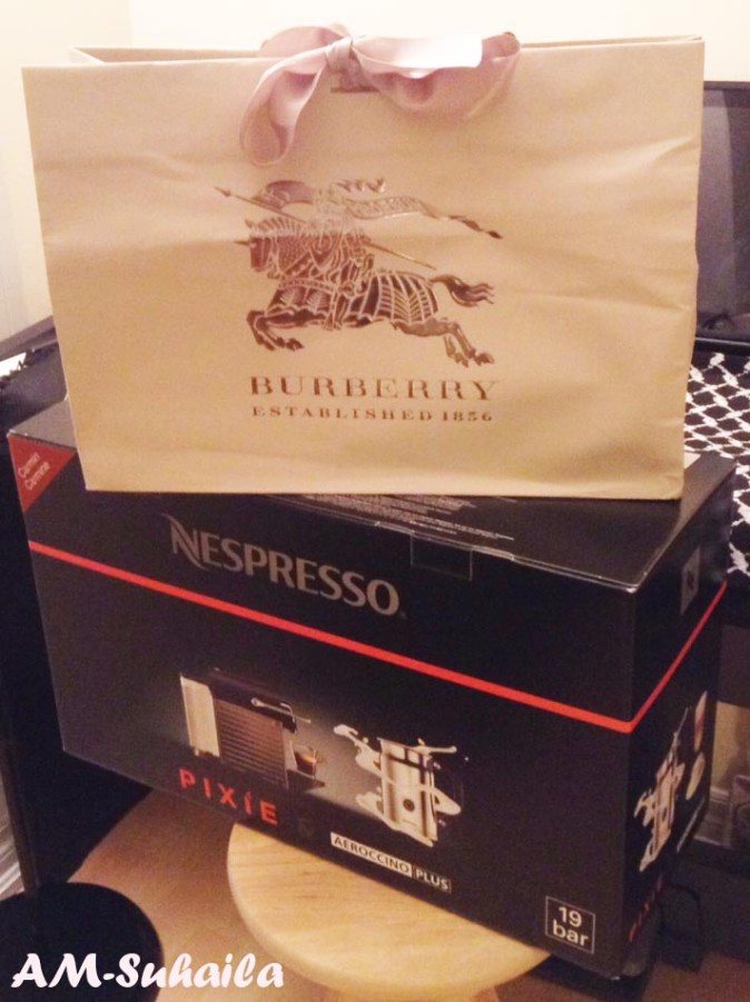 A Burberry gift from the Party of Five, the bottom one from me ;)