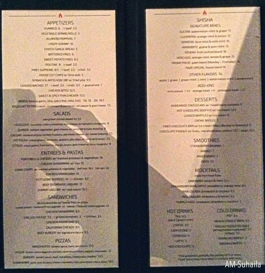 Menu, best shot I could get in the dim lounge lighting