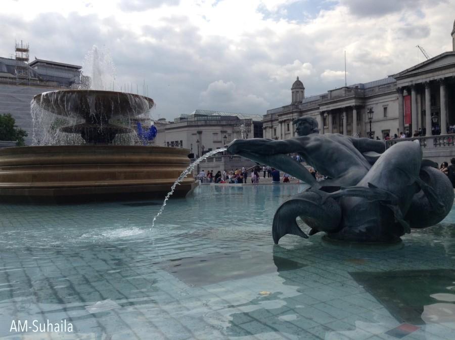 Water fountain at Trafalgar Square