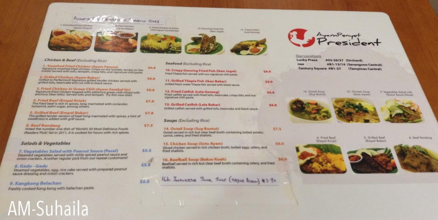A glimpse of the menu at Ayam Penyet President