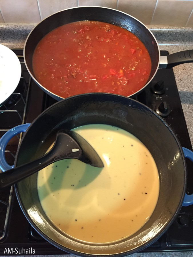 Home-made Cheese sauce and Tomato sauce