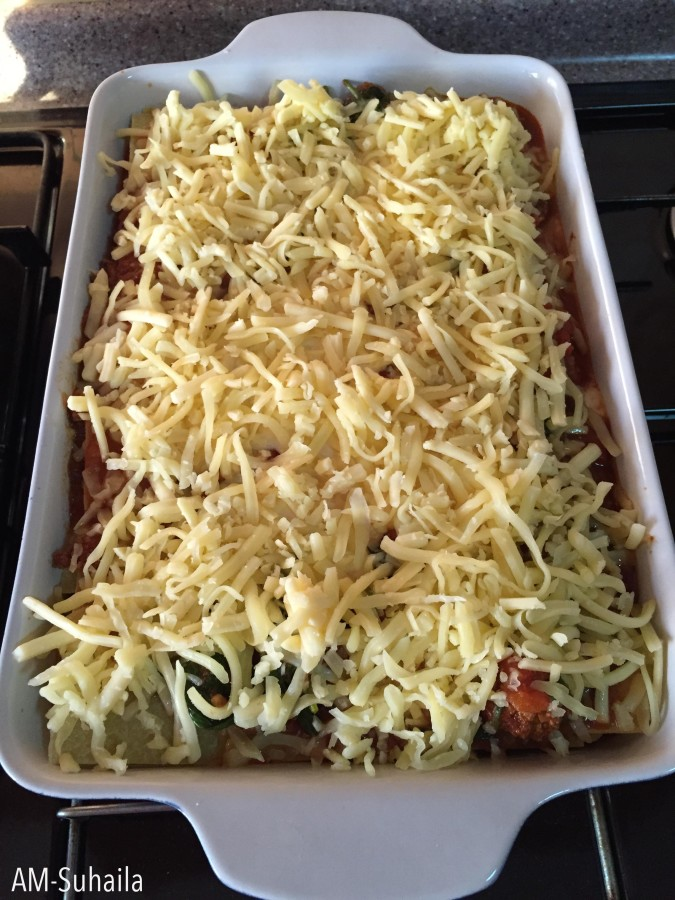 Bea's Spinach Lasagne all layered up.