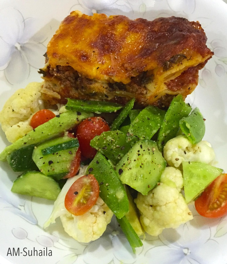 Bea's Spinach Lasagne with a side of Cauliflower Salad